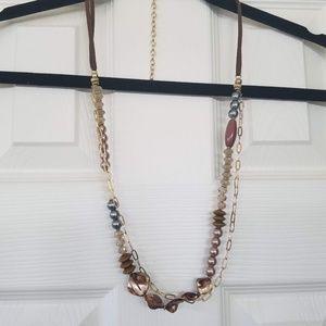 Elegant mixed bead necklace neutral earthtones
